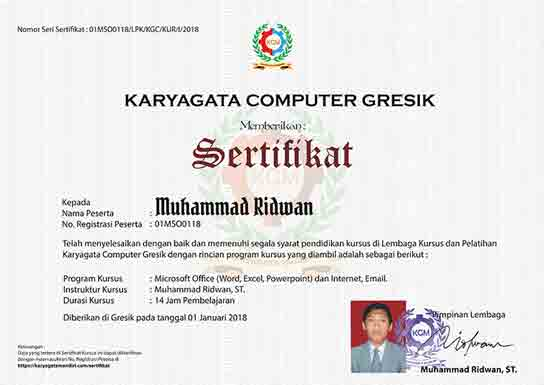 Sertifikat Kursus Komputer